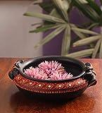 Handmade Earthenware Decorative Flower Pot/Uruli/Urli - Black (Small) -