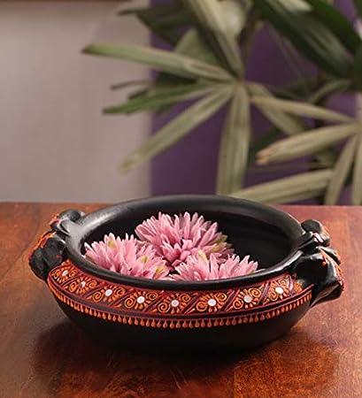 Shabana Art Potteries Handmade Earthenware Decorative Flower Pot(Black, Medium)