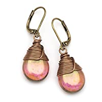 Lustrous Czech glass wire-wrapped drop bronze lever-back earrings