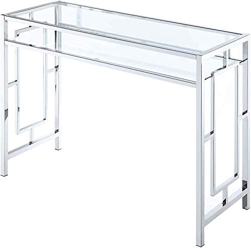 Convenience Concepts Town Square Chrome Desk With Shelf, Clear Glass Chrome Frame