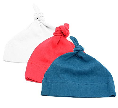 Mato & Hash Unisex Baby 100% Cotton Adjustable Knot Hat 3PK Red/White/Slate Blue