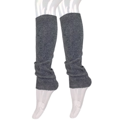 Acrylic Warmers Leg (Premium Solid Color Soft Diamond Knit Leg Warmers, Grey)