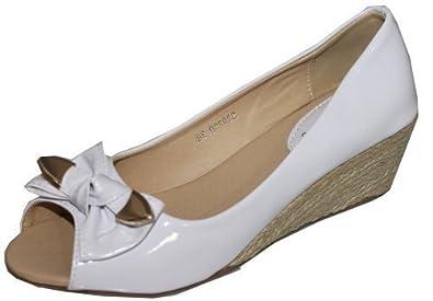 e9b6784f459 Ladies Womens Black White Patent Espadrilles Peep Toe Smart Wedge Shoes (7
