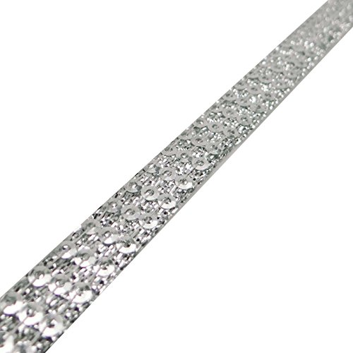 Silver Beaded Sequins Ribbon 1.2 Cm Wide Sewing Accessories Decorative Trim By The Yard (Border Silver Beaded)