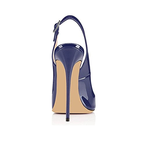 Ankle Sandals Peep Heels High Women's Heeled Pumps Sandals Toe Blue Slingback Strap Sammitop Stilettos zxqAUF7w