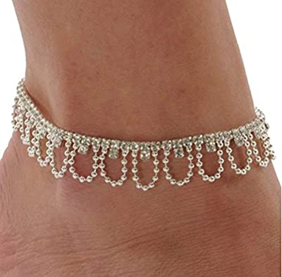 Rhinestone Drape Stretch Anklet Bracelet Austrian Crystal Silver Tone Ankle Clear,Silver,one size