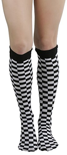 - ToBeInStyle Women's Opaque Classic Checker Pattern Knee Hi Socks