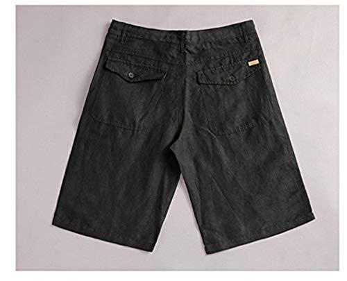 Lino Di Unita Semplici Schwarz Festivo Il Tempo Corti Libero Cotone Da Pantaloni Abbigliamento Per Spiaggia Estivi Uomo Pantaloncini Tinta In 5Adnq5w