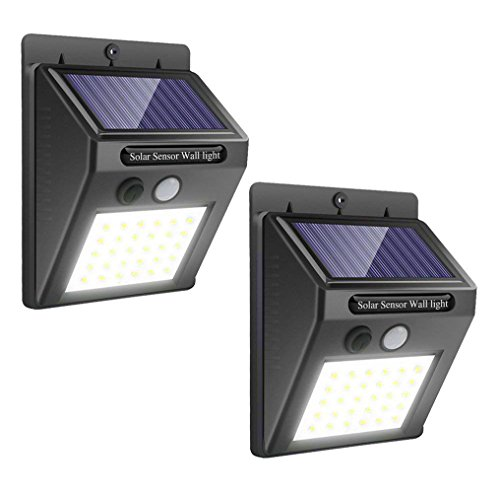 Solar Lights Outdoor Motion Sensor - Upgraded 30 LED Waterproof Wireless Security Light for Yard Garage Deck Garden, 2 Pack by LVJING