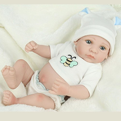 Kaydora 10inch Full Silicone Reborn Baby Boy Washable Handmade Lifelike Dolls Looking Body Wrinkles – With White Bee Tshirt  Rabbit Hat  baby diaper…