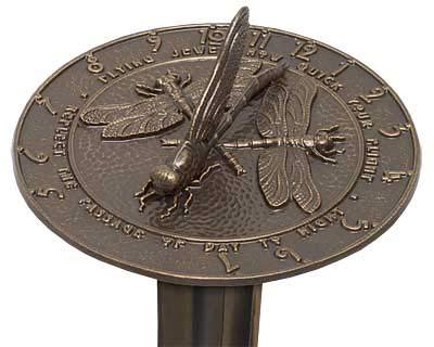 BestNest Whitehall Dragonfly Sundial & Roman Pedestal Kit, French - Sundial Bronze