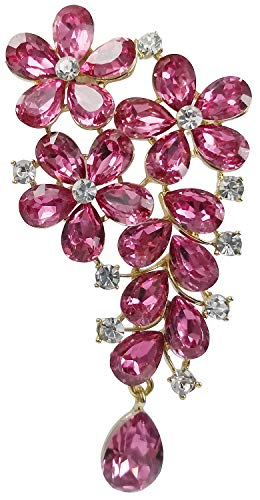 - Bijoux De Ja Gold-Plated Base Floral Festoon Crystal Rhinestone Brooch Pin (Pink)