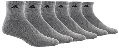 adidas Men's Cushioned Athletic Quarter Socks (6-Pack), Heather Grey/Black, Shoe: 6-12