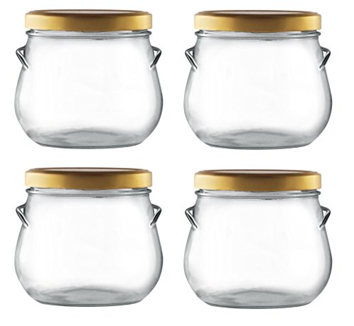 Nakpunar 4 pcs 29 oz Glass Tureen Jar with Gold Lids - 850 ml 1 Lb Gift Jar