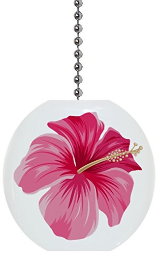 Ceramic Fan Pull (Pink Hibiscus Flower Solid Ceramic Fan Pull)