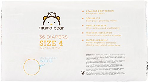 Amazon Brand - Mama Bear Diapers Size 4, 144 Count, White Print (4 packs of 36) by Mama Bear (Image #2)