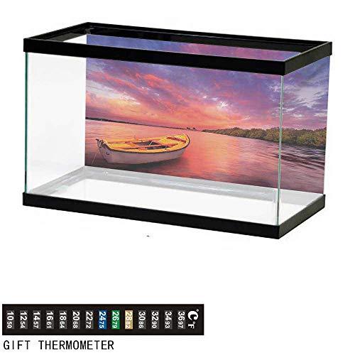 wwwhsl Aquarium Background,Sunset,Enchanted Coast with a Rowboat Under Magical Hazy Sky Peaceful Nature Image,Pink and Purple Fish Tank Backdrop 72