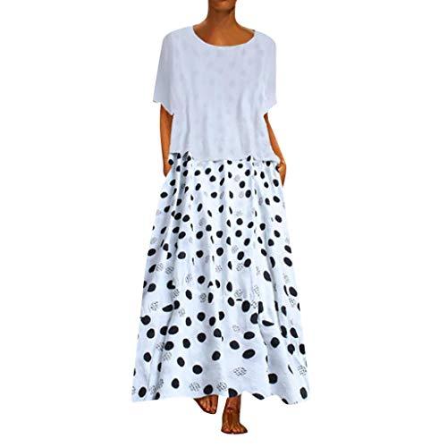 (Respctful ♫♫Women's Summer Linen Short Sleeve Tops Maxi Skirt Set 2 Piece for Casual Beach Boho Dress with dot prin White)