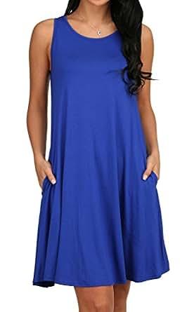 Alaroo Women's Summer Sleeveless Pocket Loose Tshirt Dress Royal Blue S