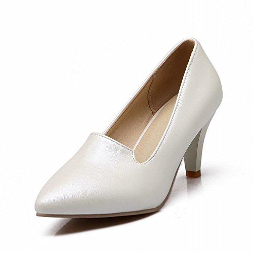 Carol Scarpe Moda Donna Polsino Punta-a-piedi Eleganza Elegante Tacco Alto Pompe Scarpe Bianche