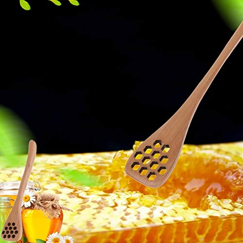 Best Quality - Beekeeping Tools - Natural wood Honey Stick Beekeeping Tool 12 Holes Mix Handle Natural Wood Bar Dippers Spoon - by SeedWorld - 1 PCs