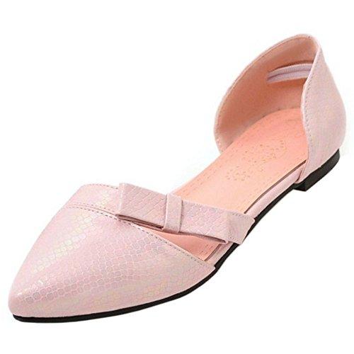 Women TAOFFEN On Shoes D'orsay Flat Ballet Bowtie Slip Casual Pink Bqw4dv