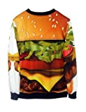 Pink Queen Womens Stylish Hamburger Print Galaxy Pullover Roll Neck Sweatshirt Sweaters Hoodies (S)