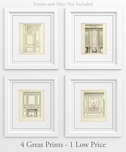 French Doors - Set of 4 11x14 Unframed Art Prints - Great Architectural Home Decor (not Restoration Hardware)