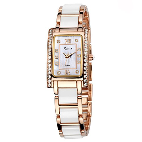 Tidoo Watches Womens Luxury Dress Watch WristWatchNacre Dial Japaneses Quartz Movement Gold Plated Rectangle Case Simujlated Pearl Bracelet BandWater Resistant