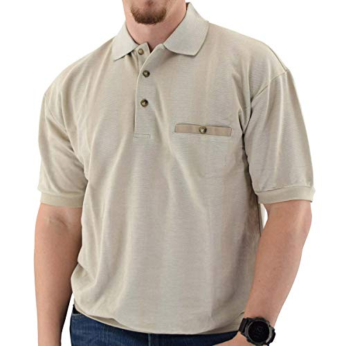 (Classics by Palmland Short Sleeve 3 Button Banded Bottom Knit Collar Shirt Taupe (L, Taupe) )