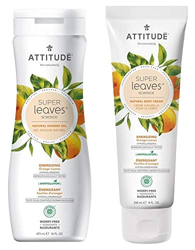 ATTITUDE Super Leaves Energizing Shower Gel Body Wash and Body Cream Bundle With Grape Seed, Shea Butter, Olive, Watercress, indian Cress, Orange, Tapioca and Raspberry, 16 fl. oz. and 8 fl. oz. (Grape Body Seed Butter)