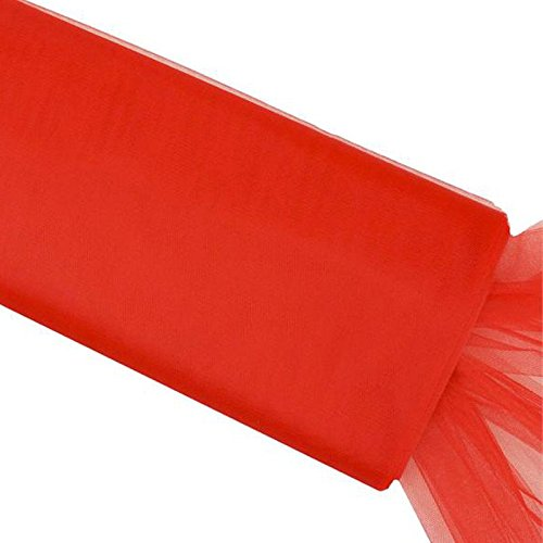 BalsaCircle 54-Inch x 120 feet Red Large Net Tulle Fabric by The Bolt - Wedding Party Decorations Sewing DIY Crafts Costumes (Tulle Red Bolt)