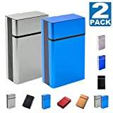 roygra Cigarette Case King Size 2 Boxes (18-20 Capacity) Sturdy Cigarette Holder Metal Exterior and Plastic Inner (F - Gary + Blue, King Size)