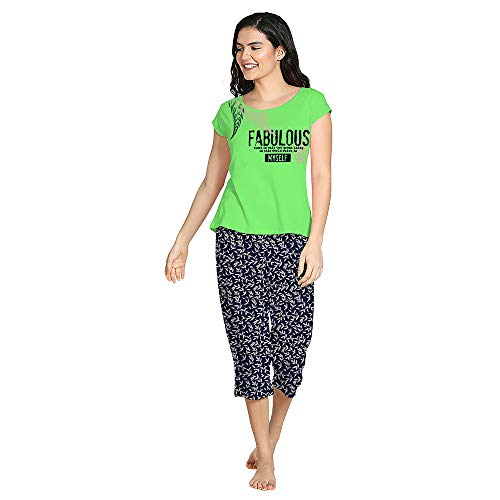 So Sweety Comfort  amp; Dreams Women Printed Light Green Top  amp; Multicolor Capri Set | Half Sleeve