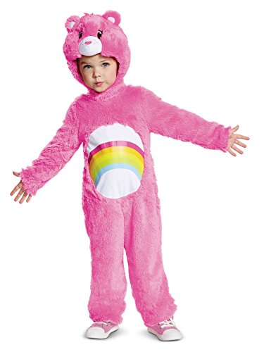 Disguise Cheer Bear Deluxe Plush Child Costume, Pink, Medium/(3T-4T) -