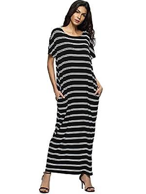 Romwe Women's Stripe Casual Loose Pocket Short Sleeve Long Maxi Dress