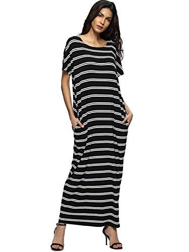 ROMWE Women's Stripe Casual Loose Pocket Short Sleeve Long Maxi Dress Black XL