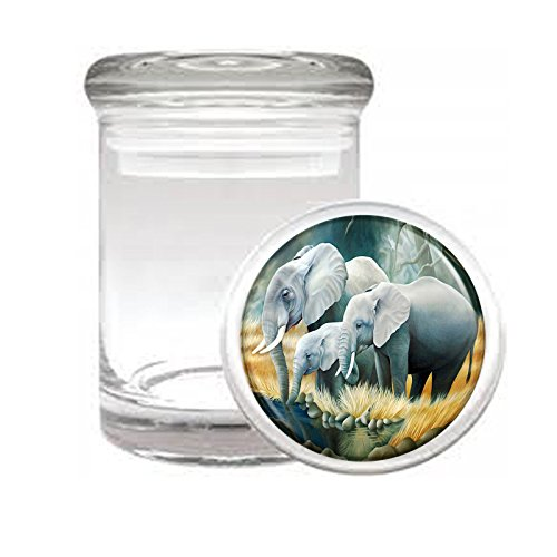 Medical Glass Stash Jar Elephant Art Design S37 Air Tight Lid 3'' x 2'' Small Storage Herbs & Spices by JS & Caren