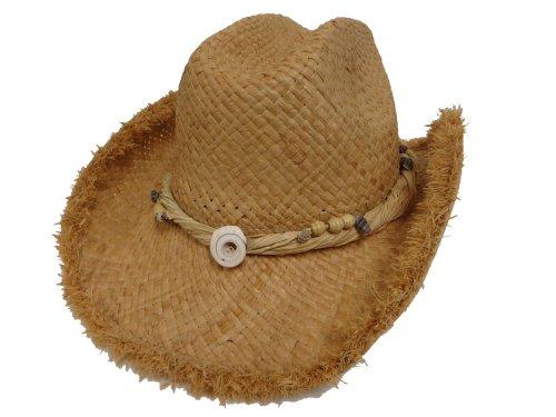 (Raffia Western Hat Frayed Edge / Seashell Design)