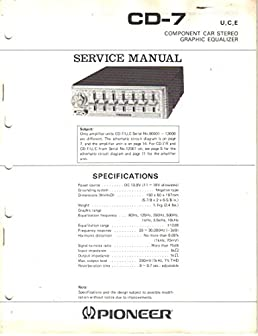 pioneer cd 7 component car stereo graphic equalizer service manual rh amazon com Pioneer Wiring Color Diagram Car Stereo Color Wiring Diagram