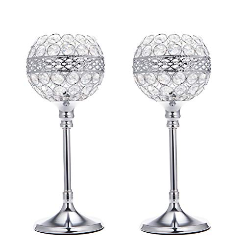 - ManChDa Silver Crystal Bowl Candle Holder Set of 2 for Dining Room Flange Decorative Centerpieces Modern House Decor Gifts for Anniversary Celebration