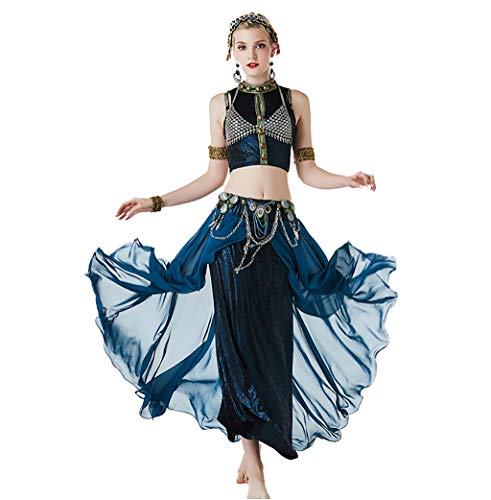 (New Women Gypsy Top Belly Dance ATS Tribal Costume Suit Set Bra Top Skirt Bead Gypsy Dress Stage Performance Tribal (M, Turquoise 3pc))