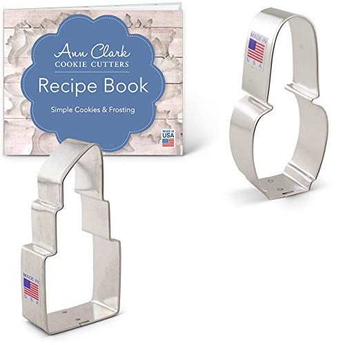 - Ann Clark Makeup Cookie Cutter Set with Recipe Booklet - 2 Piece - Nail Polish and Lipstick - Tin Plated Steel