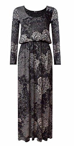 F&F Womens Ladies Long Sleeve Printed Gathered Puff Ball Ballon Toga Maxi Dress (Medium/Large, Snake