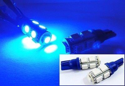 (LEDIN 2x BLUE 9 SMD LED T10 168 194 Front Side Marker Light 2825 W5W)