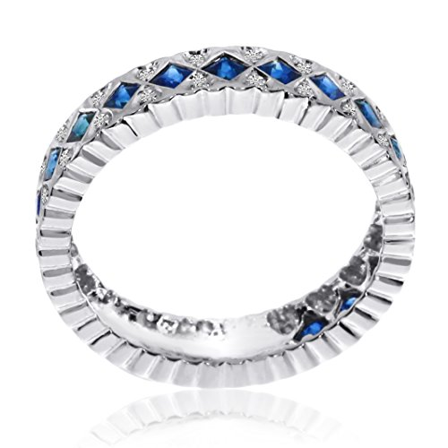 Sapphire Diamond Fish (14K White Gold 1.5mm Princess Sapphire and Diamond Fishtail Precious Ring. Size 7)