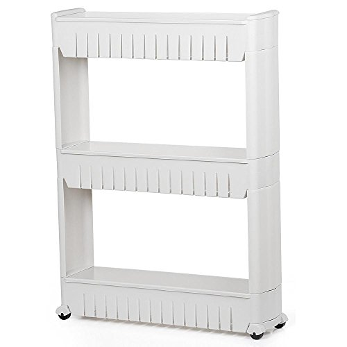 - Yaheetech 3 Tier Mobile Shelving Unit Slim Slide-Out Storage Tower Pull Out Pantry Shelves Cart for Kitchen Bathroom Bedroom Laundry Room Narrow Places on Wheels White