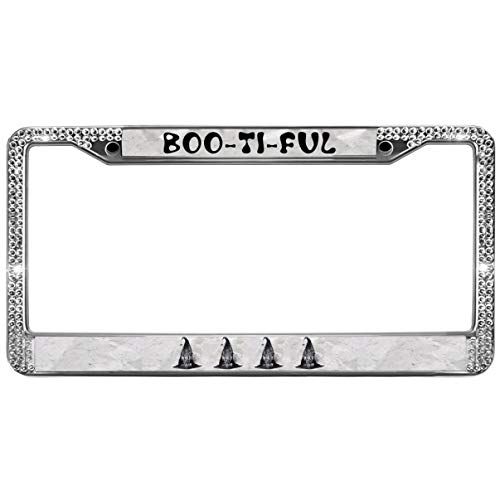 GND 2-Holes Stainless License Plate Frame BOOTIFUL Rhinestone Metal License Plate Frame,Spooky Halloween Diamond License Plate Frame Bling Glitter for US -