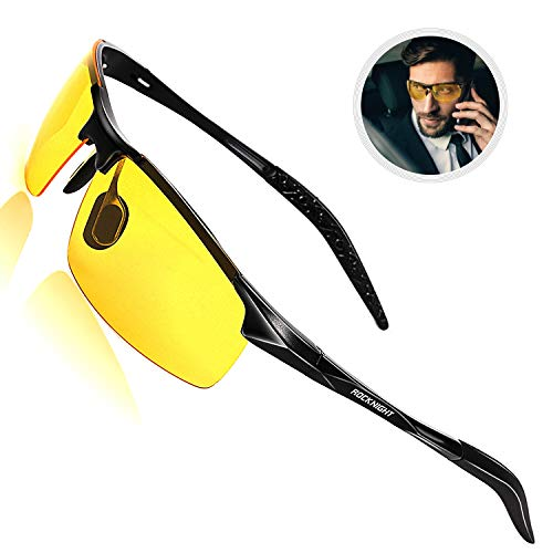 ROCKNIGHT Driving Polarized Night Vision Glasses for Men UV Protection HD Yellow Sunglasses Ultra Lightweight Al-Mg Metal Frame Outdoor Rimless Sunglasses