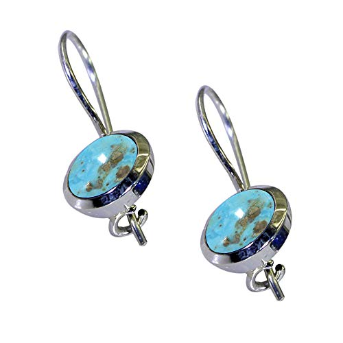 CHOOSE YOUR COLOR Natural GEMSTONE 925 Sterling Silver Drop-Earrings For Women Fashion Daily Wear ()